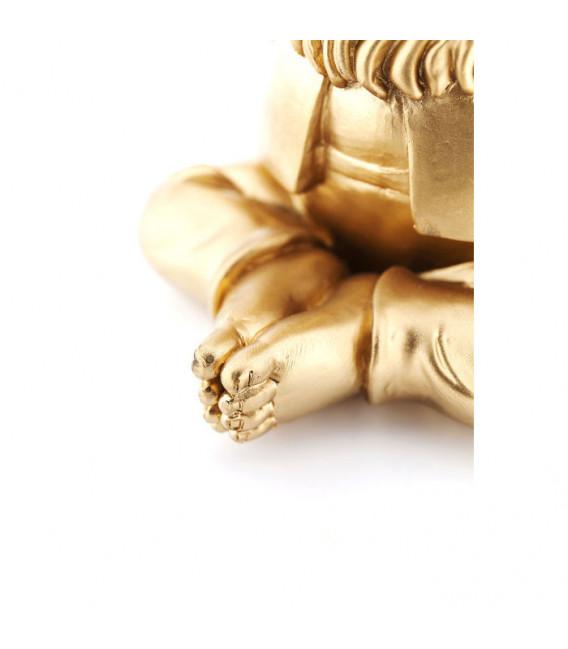 Figura decorativa Zwerg Meditation dorado verde 19