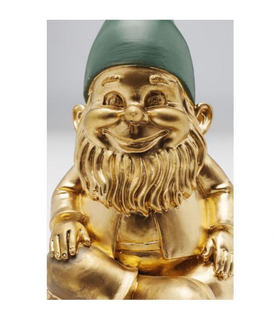 Figura decorativa Enano sentado dorado verde 19cm