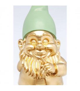 Figura decorativa Gnomo de pie dorado verde 42cm