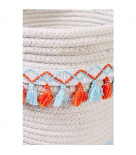 Cesta almacenaje Fringes naranja-azul claro (3/Set)