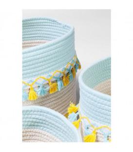 Cesta almacenaje Fringes amarillo-azul claro (3/Set)