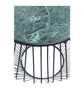 Mesa auxiliar Beam verde mármol negro Ø40cm