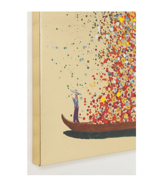 Cuadro Flower Boat Gold Red 160x120cm