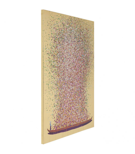 Cuadro Flower Boat Gold Pink 100x80cm