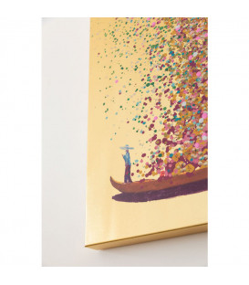 Cuadro Flower Boat Gold Pink 100x80cm