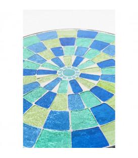 Mesa auxiliar Clack Mosaic azul verde Ø36cm