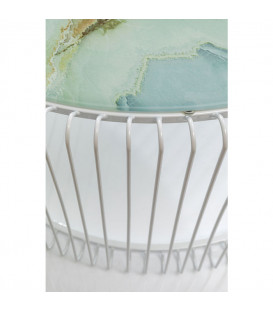 Mesa centro Wire cristal mármol blanco (2/Set)
