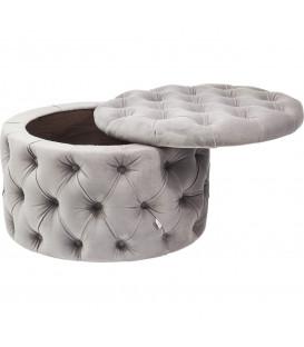 Taburete baúl Desire Redondo gris plata
