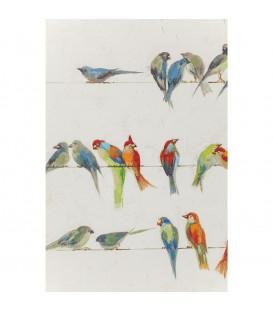 Cuadro impreso retoques óleo  Birds Meeting 100x10