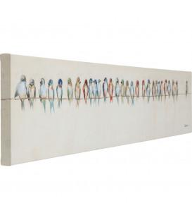 Cuadro impreso retoques óleo  Birds Meeting 30x150