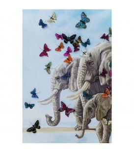 Lienzo Elefants with Butterflys 120x120cm