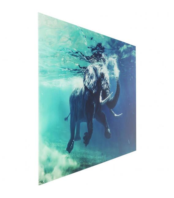 Cuadro cristal Swimming Elephant 180x120cm