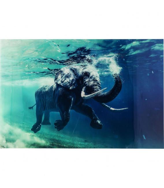 Cuadro cristal Swimming Elephant 80X100cm
