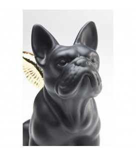 Figura decorativa Sitting Angel Dog dorado-negro