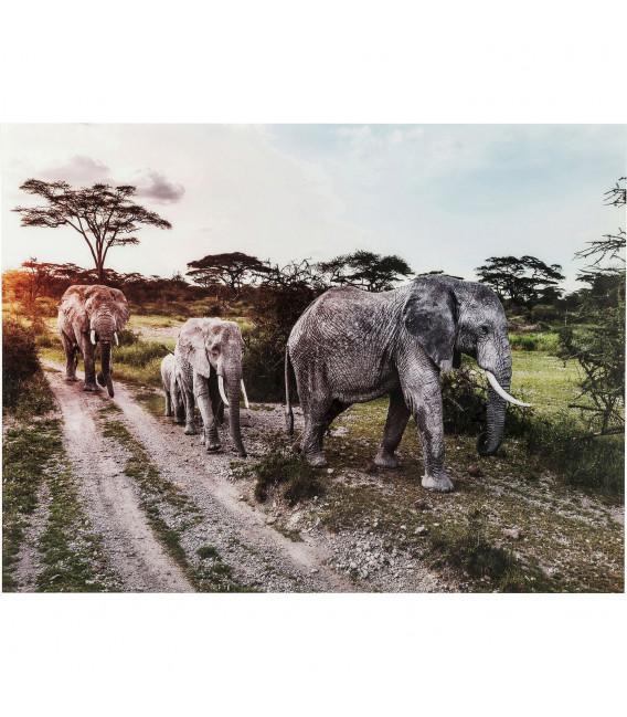 Cuadro cristal Elefant Family 160x120 cm
