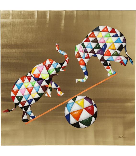 Cuadro pintado Circus Elefants 120x120 cm